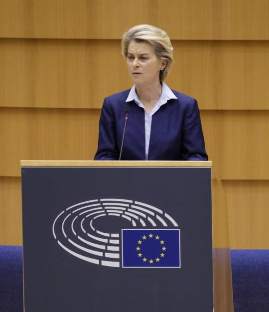 President of the European Commission Ursula von der Leyen delivers a speech during European Parliament plenary session on December 16, 2020, in Brussels, Belgium.