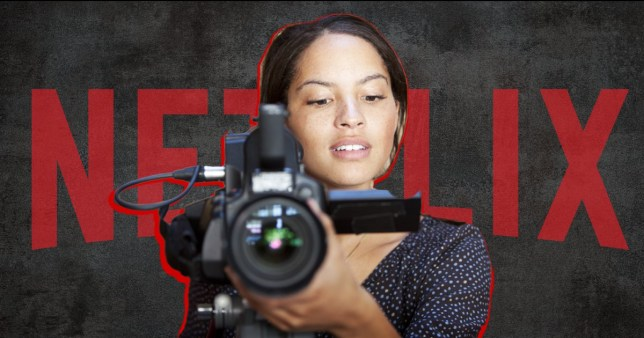 Woman holding camera in front of Netflix logo