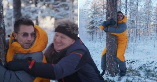 Gino D'Acampo humps a tree on Gordon, Gino and Fred: Desperately Seeking Santa