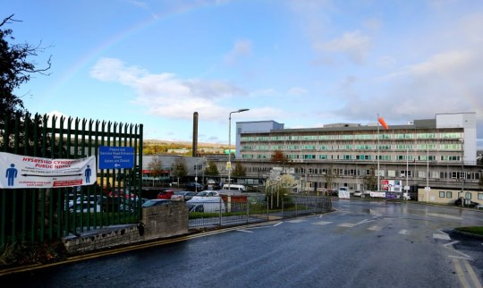 A general view of Prince Charles Hospital on October 9, 2020 in Merthyr Tydfil, Wales. The hospital falls under the Cwm Taf Morgannwg University Health Board whose hospitals have reported an increase of Covid related deaths.