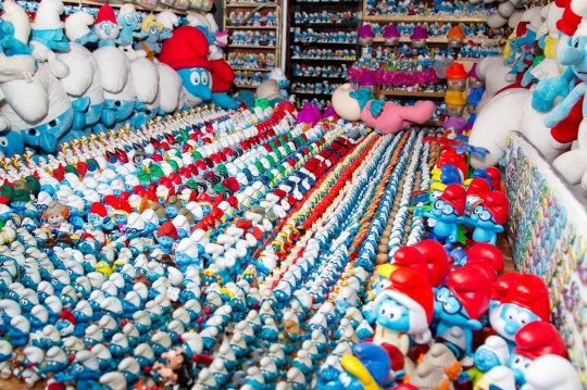 FILE PICTURE - Robin White's Smurf collection. See SWNS story SWMDsmurf. A Smurfs toy collector who dubs himself 'Papa Smurf' has been exposed as a child rapist and has been jailed for 16 years. Robin White is known for his large collection of Smurfs toys and memorabilia, which he showcased in displays in his van. But underneath his persona, the 65-year-old was really a vile sex offender. The victim, who is now an adult, bravely reported how she had been sexually abused. The attacks happened when she was aged under 16, and from the witness box, she described in full the sexual abuse she suffered at the hands of White, including him using the sex toy on her and raping her in the shed. In 2017, the depraved paedophile made headlines after he claimed his collection of more than 10,000 items of Smurfs memorabilia was the largest on the planet.