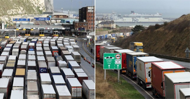 Queues of lorries in Kent