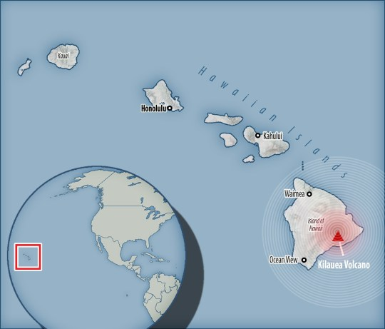 A map of where the volcano is