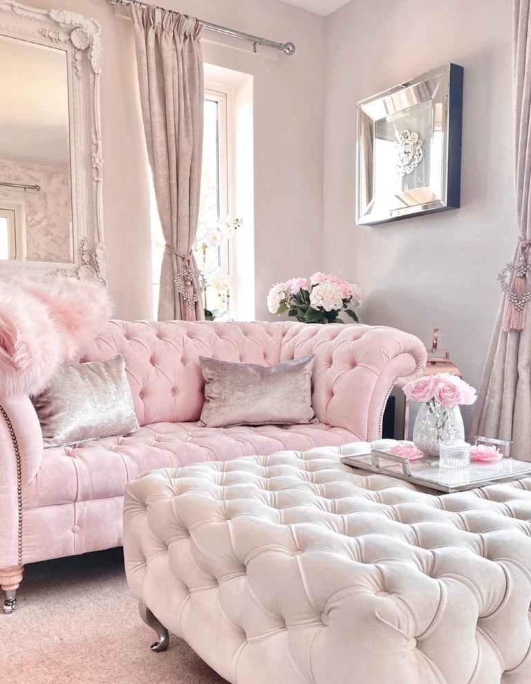 pink sofa in living room
