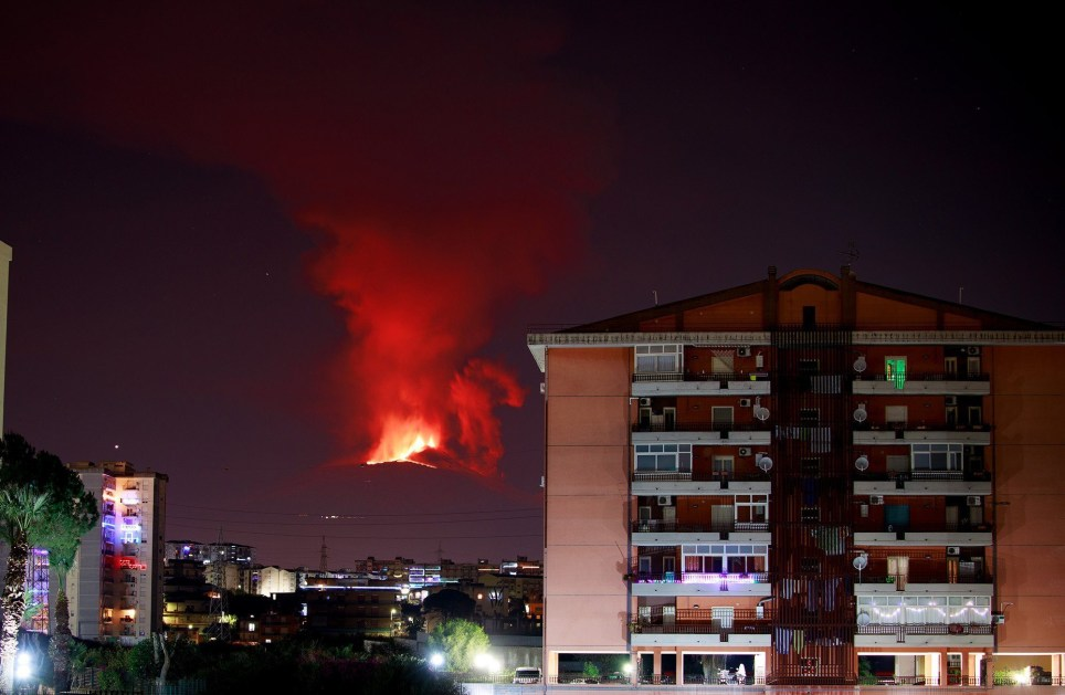 Mandatory Credit: Photo by Angela Platania/REX (11657787a) Mount Etna erupts. The lava emission forms a small westward lava flow that overlaps the cooling lava field Mount Etna erupts, Sicily, Italy - 22 Dec 2020