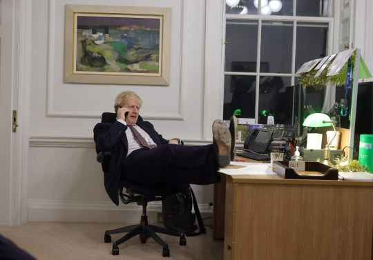 The Prime Minister Boris Johnson in his office in Number 10 speaking to the President of the European Commission Ursula von der Leyen after news of a possible Brexit deal after speaking to her earlier in day.