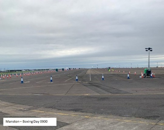 Manston airfield after  the lorry backlog is cleared