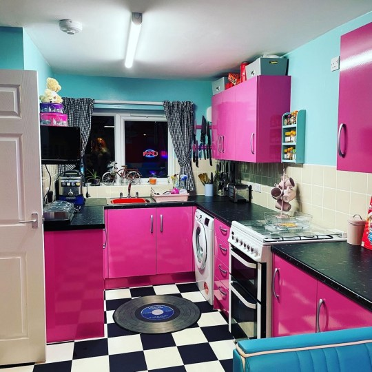 lizza truby's pink and blue painted kitchen
