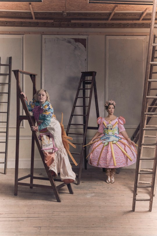 EMBARGOED TO 1400 WEDNESDAY DECEMBER 30 Undated handout photo issued British Fashion Council of Nicola Coughlan (left) and Golda Rosheuvel wearing Edward Mendoza. Netflix has partnered with the British Fashion Council to commission up-and-coming designer to create regency garments inspired by its new hit series Bridgerton. PA Photo. Issue date: Wednesday December 30, 2020. See PA story SHOWBIZ Bridgerton. Photo credit should read: British Fashion Council/PA Wire NOTE TO EDITORS: This handout photo may only be used in for editorial reporting purposes for the contemporaneous illustration of events, things or the people in the image or facts mentioned in the caption. Reuse of the picture may require further permission from the copyright holder.