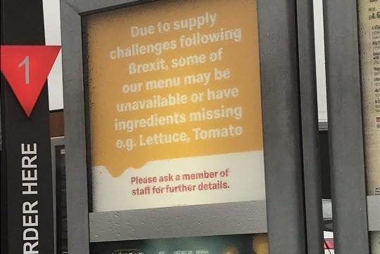 McDonald's warns meals could be missing ingredients due to supply challenges after Brexit