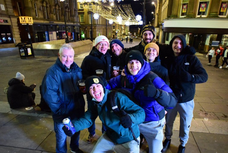 Drinkers in Newcastsle city centre enjoy their last pints of beer before the city goes into Tier 4
