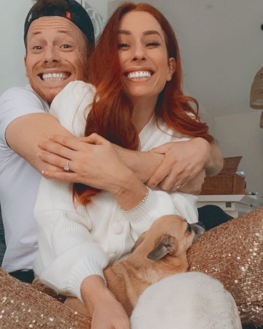 Stacey Solomon and Joe Swash pictured after getting engaged
