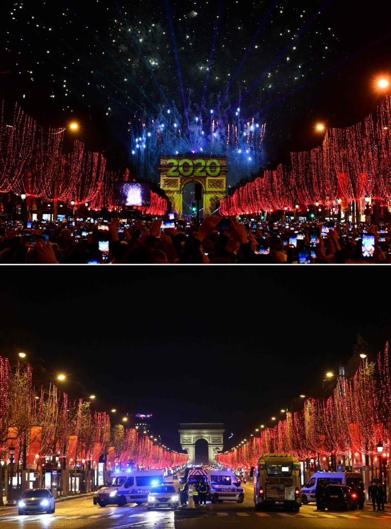 New year's Even in Paris in 2019 and 2020