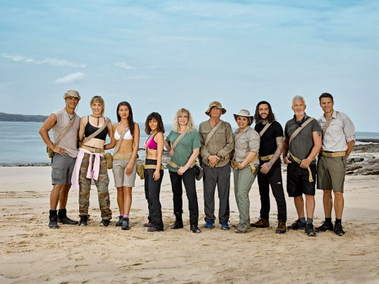 Celebrity island with Bear Grylls. Anthony Ogogo, Paris Lees, Montana Brown, Roxanne Pallett, Jo Wood, Eric Roberts, Pete Wicks, Martin Kemp and James Cracknell