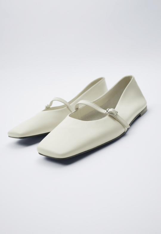 White square toe leather flats