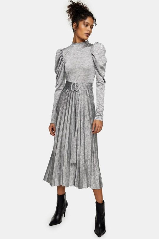Grey premium midi dress from Topshop