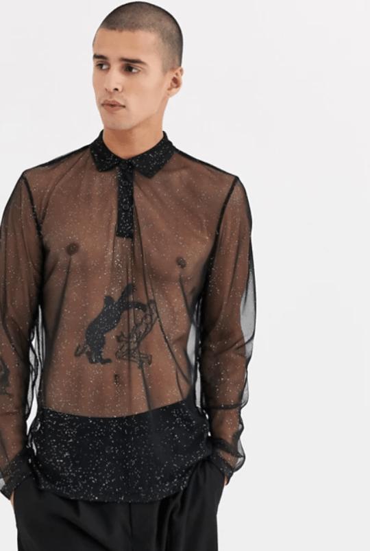 asos design sparkly mesh top