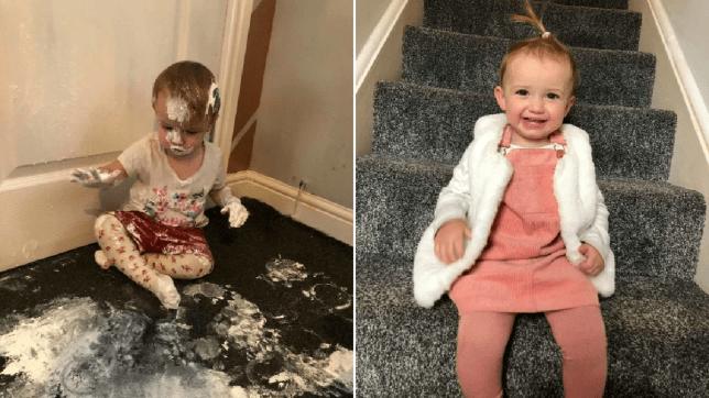 Toddler covered in Sudocream