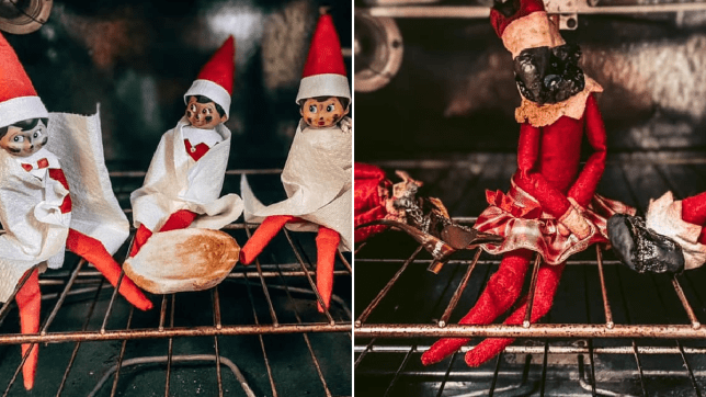 Elves on shelf before and after being burnt in an oven