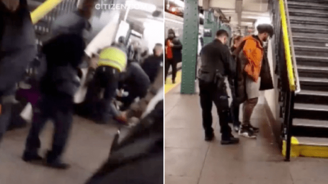 Woman is treated after being shoved into subway train, and man is arrested for allegedly shoving her