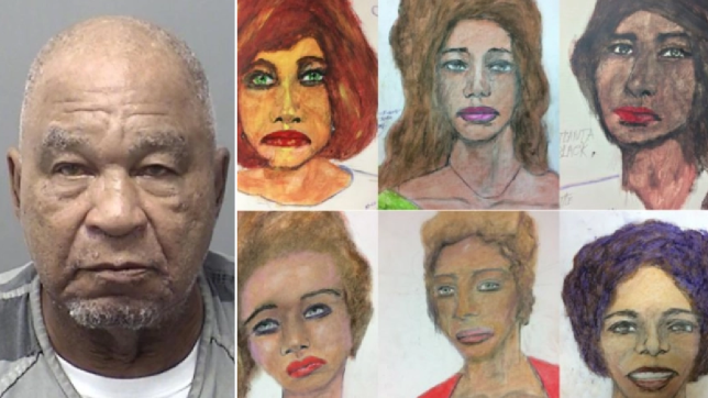 Samuel Little and drawings of some of his victims