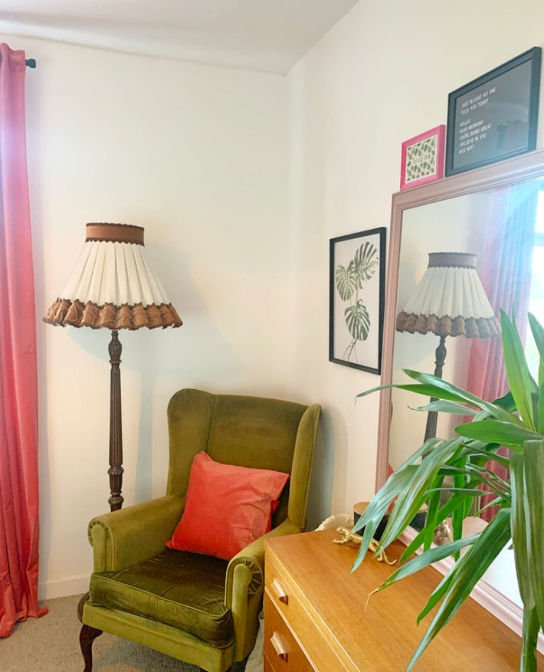 What I Rent: Sally, £600 a month for a two-bedroom flat in Edinburgh - green armchair in bedroom