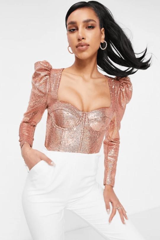 lavish alice sequin puff sleeve corset top in rose gold