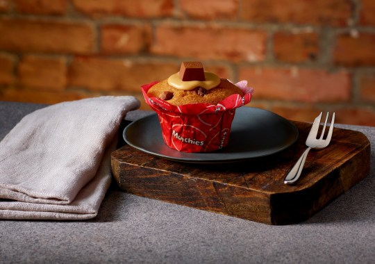 Or pick up a much-needed pick-me-up like the Caramel Muffin made with Munchies at half the price, whether you're being kind to yourself or to someone else (Picture: Costa Coffee)