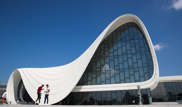 A view of the Heydar Aliyev Center in Baku, Azerbaijan