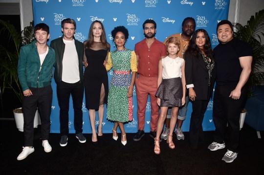 The Eternals cast - Barry Keoghan, Richard Madden, Angelina Jolie, Lauren Ridloff, Kumail Nanjiani, Lia McHugh, Brian Tyree Henry, Salma Hayek,