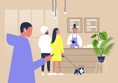 illustration of a line of characters waiting at the coffee counter