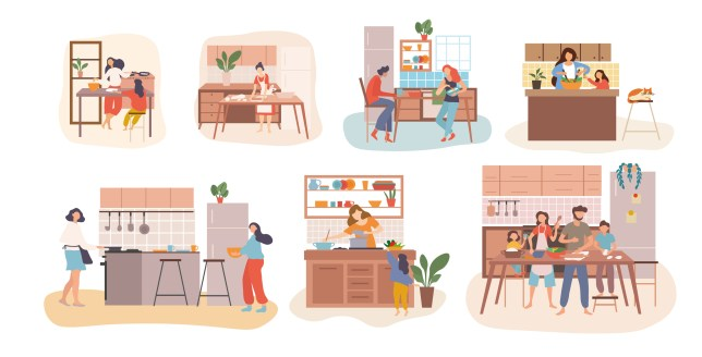 a Set of seven kitchen scenes showing people cooking