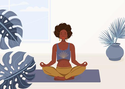 illustration of woman yoga at home