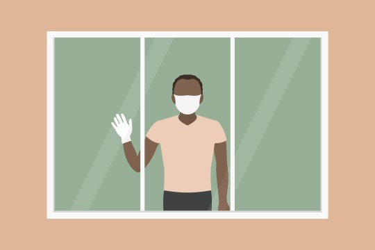 African-American man standing near window in hospital and waving hand. Vector illustration