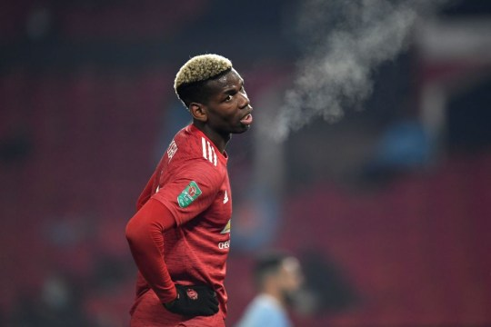Paul Pogba looks on during Manchester United's Premier League clash with Manchester City