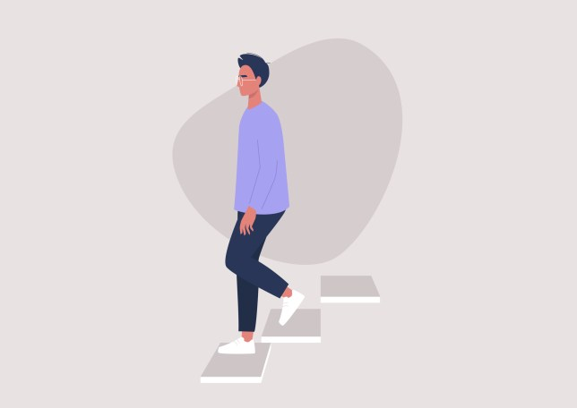 Young male character walking down the stairs, building entrance, daily routine