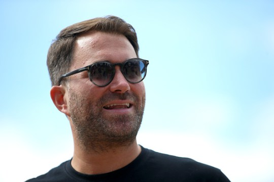 Eddie Hearn, Managing Director of Matchroom sport looks on as he is interviewed for TV during the Matchroom Fight Camp Media Brunch at the Matchroom HQ on July 29, 2020 in Brentwood, England.