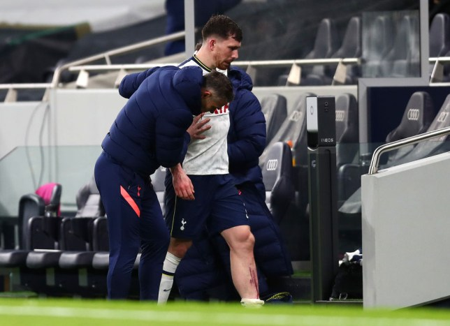 Pierre-Emile Hojbjerg comes off with a gruesome leg injury in Tottenham's Carabao Cup victory over Brentford