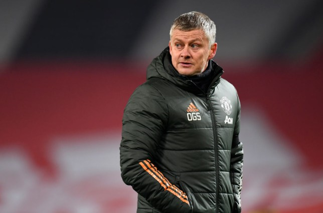 Ole Gunnar Solskjaer, Manager of Manchester United reacts after the Carabao Cup Semi Final match between Manchester United and Manchester City at Old Trafford on January 06, 2021 in Manchester, England. The match will be played without fans, behind closed doors as a Covid-19 precaution.