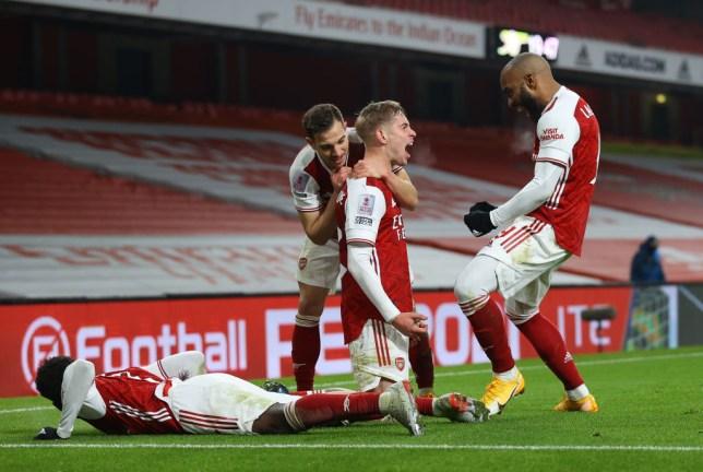 Emile Smith Rowe celebrates his winning goal for Arsenal against Newcastle United