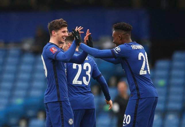Mason Mount and Callum Hudson-Odoi celebrate in Chelsea's FA Cup win over Morecambe