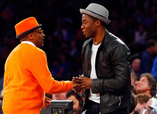 Chadwick Boseman and Spike Lee at the Indiana Pacers v New York Knicks