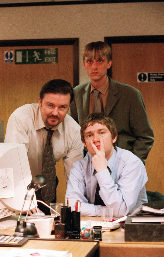 Ricky Gervais, Mackenzie Crook and Martin Freeman in The Office