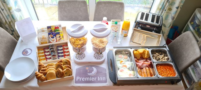 Mum creates home Premier Inn buffet for kids who miss the hotel's breakfasts