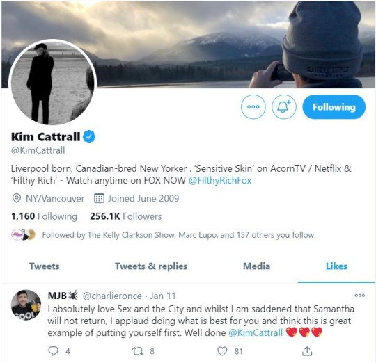 Kim Cattrall likes tweet about Sex And The City reboot snub