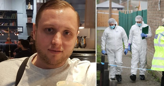 Forensic officers investigate the death of Paul Fletcher (pictured), who was found dead in his home in Rayleigh, Essex, minutes into New Year's Day 2021