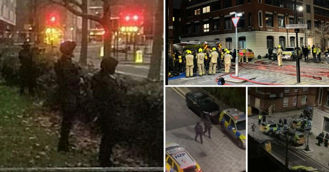 Armed police in Dover Street, Southwark, near the Shard