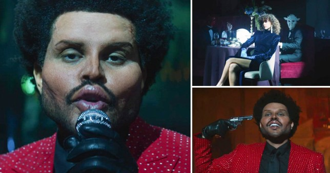 The Weeknd wearing face prosthetics in Save Your Tears music video