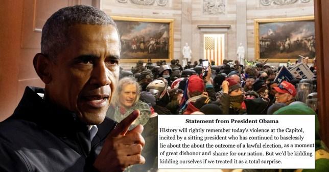 Barack Obama slams rioting at Capitol Hill.