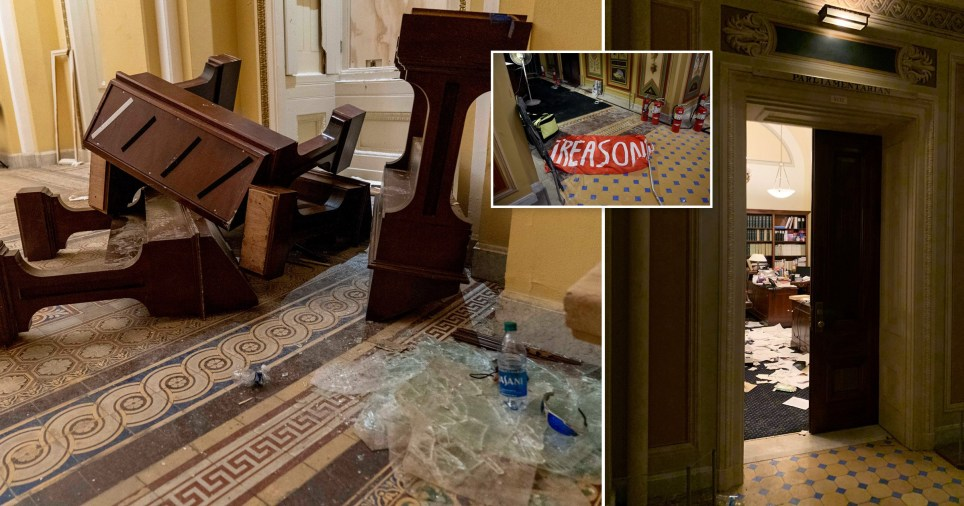 Pictures show aftermath inside US Capitol Building after violent siege